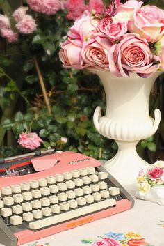 pink vintage typewriter great alternative for wedding guest book www.saddleworthshindigs.com