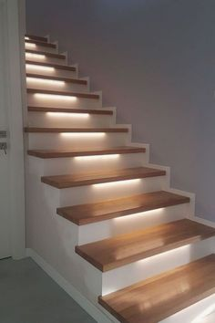 Interior wooden stairs, made of solid oak or beech wood. Solid wood interior stairs made to order according to the requested size and model. Concrete Staircase, Wooden Stairs, Modern Staircase, Spiral Staircases, Painted Stairs, Interior Wall Lights, Interior Stairs, Glass Wall Design, Stairway Lighting