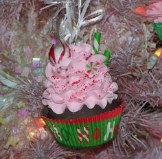 Pink Peppermint Fake Cupcake Christmas