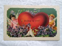 Art Nouveau, antique New Year embossed, litho postcard, angels, red heart, 1912 #NewYear Vintage Postcards, Art Nouveau, Angels, Tapestry, Antiques, Heart, Frame, Red, Home Decor