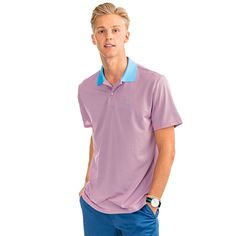 37ed6bbb6 Fort Charlotte Stripe Performance Polo in Sunset Coral by Southern Tide -  FINAL