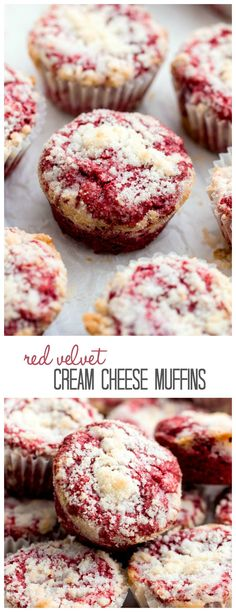 Red Velvet Cream Cheese Muffins are the perfect moist red velvet muffin swirled with cream cheese and topped with a crumb topping!