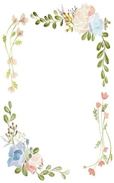 Resultado de imagen para flowers aquarelle border for word Floral Watercolor Background, Watercolor Border, Watercolor Flowers, Page Borders Design, Border Design, Borders For Paper, Borders And Frames, Cute Wallpapers, Wallpaper Backgrounds