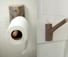 """nice way to keep toilet paper.  Great idea for my back toilet which has a """"nature & Adventure"""" theme. I am going to dig through my driftwood box and see what suits.  #design #interiors #bathrooms #cool #driftwood #beach #loos #cool"""