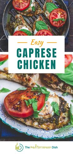 BEST Caprese Chicken Recipe with basil pesto, fresh mozzarella and ripe tomatoes. Ready in 20 minutes, this is perfect for any night of the week, but totally company-worthy! Plus, it's gluten free, low carb, and only 288 calories per serving. You can make this chicken caprese in an indoor pan or griddle or fire up the grill, if you like. Mediterranean Fish Recipe, Mediterranean Dishes, Healthy Comfort Food, Healthy Eating, Healthy Foods, Clean Eating, Healthy Recipes, Pasta Dinners, Meals