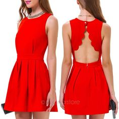 2014 free shiping New Womens Summer Sexy Casual Party Evening Short Mini Dress Red FE3242#S1