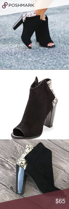 Dolce Vita Laine Black Zip-up Peep Toe Booties ▪️Suede and Calf Hair ▪️Great condition ▪️Black  🌷Happy Poshing! Dolce Vita Shoes Ankle Boots & Booties