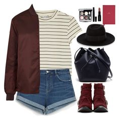 """* s t r i p e s *"" by bliznec-anna ❤ liked on Polyvore featuring Monki, Zara, Acne Studios, Toga, Lacoste, Maison Michel, Chanel, Smashbox and Smythson"