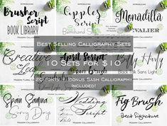 Best Selling Popular Modern Calligraphy Bundle Set l 10 Sets l TTF l OTF Files Word Silhouette Cric Dragon Software, Font Software, Ttf Fonts, Light Font, Brush Font, Modern Fonts, Alphabet And Numbers, Modern Calligraphy