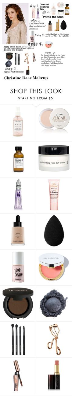 """""""Christine Daae Makeup Tutorial"""" by viktoriabradley on Polyvore featuring beauty, Herbivore Botanicals, Fresh, Fig+Yarrow, BBrowBar, Urban Decay, Too Faced Cosmetics, Giorgio Armani, Yves Saint Laurent and beautyblender"""