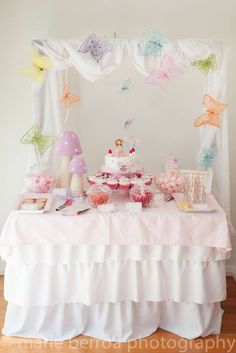 Fairy princess Birthday Party dessert table! See more party ideas at CatchMyParty.com!