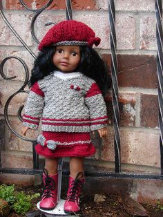 """Hand Knitted three piece set by Debonair Designs for 18"""" Madame Alexander girls also fits American Girl Dolls"""
