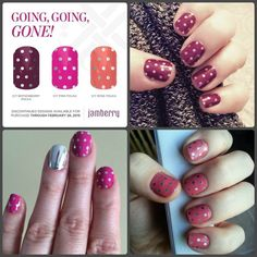 Don't let these Icy Polkas disappear! It's Going, Going, Gone time for #IcyBoysenberryPolkaJN #IcyPinkPolkaJN and #IcyRosePolkaJN. They disappear after February 28. #GoingGoingGone #NailArt #JamberryNails