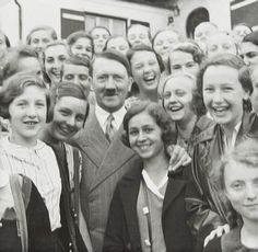 Adolf Hitler:  Happier days, because the smiles would disappear once the round-the-clock bombing of Germany began in 1943.