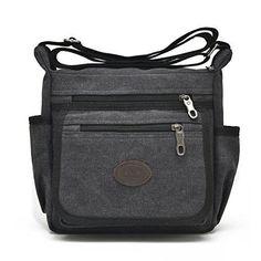 Vintage Canvas Messenger Bag Handbag Black Gift For Him Daily Fashion Xmas NEW  #VintageBag #ShoulderBag
