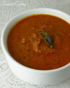 Tomato Curry: A coconut based tomato curry that goes well with idli, dosa, chappatti and white rice. This recipe is easy to prepare. Easy Indian Recipes, Ethnic Recipes, Peanut Curry, White Rice Recipes, Vegetarian Gravy, Curry Ingredients, Tomato Curry, Korma