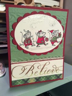 Stampin Up Merry Mice by n.stamper - Cards and Paper Crafts at Splitcoaststampers Easy Cards, Cards Diy, Cute Cards, Stampin Up Christmas, Christmas 2016, Christmas Crafts, Grandma Cards, House Mouse Stamps, Tags Ideas