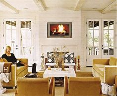 Family room with double french doors with a beautiful view