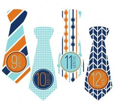 Precut Ties - Monthly Milestone Tie Stickers for Boys, Monthly Onesie Stickers, Monthly Bodysuit Stickers, Baby Month Stickers (#006)