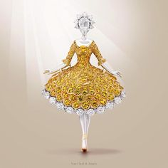 Van Cleef & Arpels Ballerina Clip - white gold, round diamonds, one rose-cut diamond, yellow gold, round yellow sapphires - unveiled during @MasterpieceLondon Fair  #MPL2015 #MasterpieceWeek