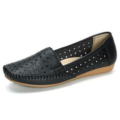 Star Hollow Out Pure Color Soft Sole Flat Casual Loafers