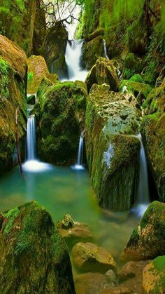 Picture of Waterfall in green nature in Switzerland stock photo, images and stock photography. Waterfall Scenery, Rock Waterfall, Small Waterfall, Mountain Waterfall, Beautiful Waterfalls, Beautiful Landscapes, Beautiful World, Beautiful Places, Nature Verte