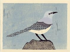 MOCKINGBIRD  Handmade Linocut Oil Paint Art Block Print by annasee