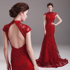 Wine Red Train Tulle Qipao / Cheongsam Wedding Dress with Keyhole Back