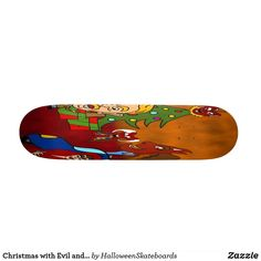 Christmas with Evil and presents Skateboard Skateboards For Sale, Holidays Halloween, Artwork Design, Hard Rock, Printing Process, Presents, Christmas, Gifts, Xmas