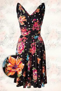 Vintage Chic 50s Grecian Black Floral Polkadot Dress 102 14 15661 20150521 0006W2