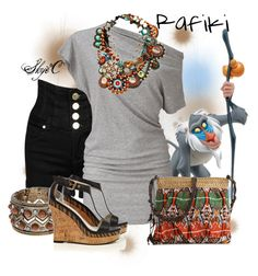 """""""Rafiki Inspired Outfit"""" by rubytyra ❤ liked on Polyvore featuring Bobi, Karen Millen, Poppie Jones, women's clothing, women, female, woman, misses, juniors and bib necklaces"""