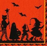 Caspari Halloween Parade 3-Ply Cocktail Beverage Napkins Wholesale 8280C | Designer Print Napkins | Halloween Napkins