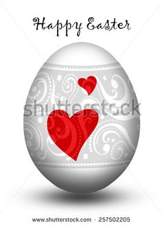 Easter egg with two hearts
