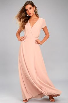 Lulus Exclusive! Everything is looking up in the World on a String Blush Lace-Up Maxi Dress! Lovely chiffon shapes a plunging surplice bodice with fluttering short sleeves, and a sexy lace-up back. Gathered waist tops a wrapping, full maxi skirt. Hidden back zipper/clasp.