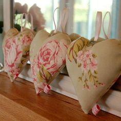 Handmade Flora Sage Fabric Heart