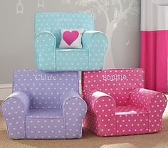 Girls' Anywhere Chair Collection Monogrammed with Pink Owl #pbkids