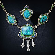 Art Nouveau Black Opal Enamel Necklace and Ring 30-1-1937.jpg   - So beautiful!