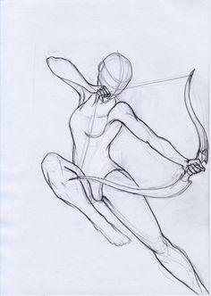 Pose Study Archer by aryaenne. on Manga Drawing Drawing Base, Manga Drawing, Figure Drawing, Bow Drawing, Anatomy Drawing, Drawing Body Poses, Drawing Reference Poses, Anatomy Reference, Pencil Art Drawings