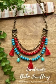 Layered Necklace Tassel Necklace Boho Necklace Red & Turquoise Necklace Statement Necklace Bohemian Jewelry Short Necklace Gift for her Layering Necklace, Red & Blue Necklace,… Blue Necklace, Short Necklace, Tassel Necklace, Layered Necklace, Layered Jewelry, Statement Necklaces, Red Turquoise, Turquoise Jewelry, Bohemian Jewelry