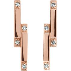 87051 / Earring / Set / Diamond / Rose / Pair / CTW / mm / Friction Backs Included / Polished / CTW Diamond Geometric Drop Earrings Bar Earrings, Diamond Earrings, Diamond Bar, Rose Gold Color, Fashion Earrings, Earring Set, Women Jewelry, What's Trending, Jewels