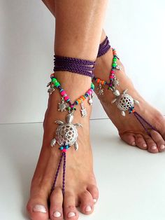 Purple turtles barefoot sandals Neon colors Hippie by FiArt