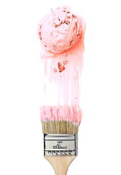 I like food photos that incorporate other props and make a play on the food. You can obviously tell this is ice cream, but the paint brush covered in pink gives it a sense that it is being painted down the wall. It is fun, bright, and creative.