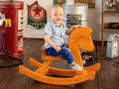 For children from 9 months to about 4-5 years old Wooden rocking horse is made entirely of pine and is handcrafted. It is well sanded and covered with a water-based varnish suitable for finishing children's toys. A rocking horse is an excellent simulator for the vestibular apparatus: rocking movements are pleasant and useful for the baby, muscles are developing during the rocking. Dimensions: Length 75 cm Width 35 cm Height 48 cm