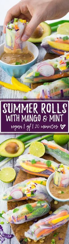 These vegan summer rolls with mango and mint are the perfect light dinner for hot summer days. They're healthy, fresh, low in calories, and super delicious! Oh, how I love healthy vegan recipes like t (Recetas Fitness) Healthy Drinks, Healthy Snacks, Healthy Eating, Delicious Snacks, Whole Food Recipes, Cooking Recipes, Recipes Dinner, Appetizer Recipes, Dinner Ideas
