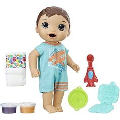 Something I don't see that often is a boy doll; but take note here you have the Baby Alive Super Snacks Snackin' Luke- Brunette Hair Muñeca Baby Alive, Baby Alive Dolls, Baby Dolls For Kids, Kids Toys, Ri Happy, Baby Doll Nursery, Pretend Food, Baby Doll Accessories, Realistic Baby Dolls