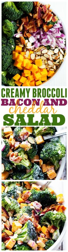 The BEST and creamiest Broccoli Salad you will make! Perfect with the added bacon, cheddar, and the creamy dressing is to die for!!