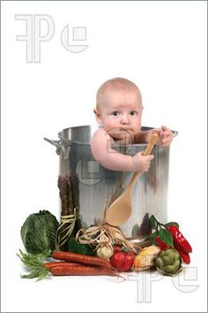 047ecbaa17c Babies  Cute Baby Infant Boy in a Chef Pot Prop on White Background
