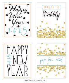 Free 2015 New Year's Eve Printables | The Blissful Bee