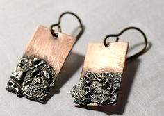 Copper Solder Stamped Earrings by IronMountainArts on Etsy