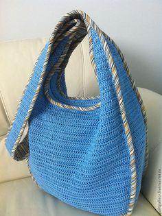 """Купить Сумка ,, Вита """". - голубой, однотонный, летняя сумка, вязаная сумка"""